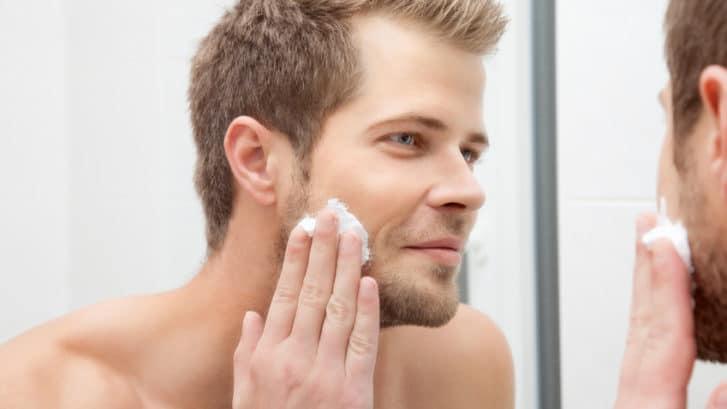 man taking care of skin